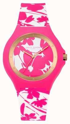 Daisy Dixon La mujer de color rosa correa de silicona floral blanco DD040WP