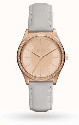 Armani Exchange Correa de cuero gris mujer rosa de oro AX5444