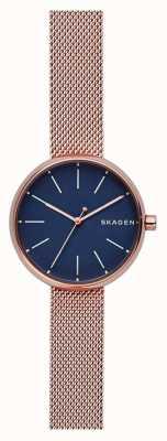 Skagen Womans signatur rosa de oro malla azul dial SKW2593