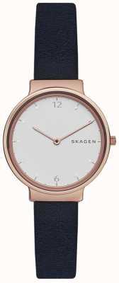 Skagen Womens ancher marino correa de cuero esfera blanca SKW2608