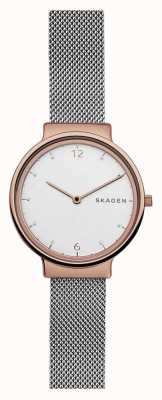 Skagen Womens ancher de acero de malla de oro rosa SKW2616