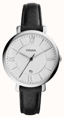 Fossil Womans plata Jacqueline dial de cuero negro ES3972
