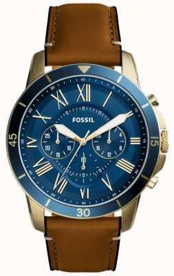 Fossil subvención para hombre de la correa de cuero tan cronógrafo azul FS5268