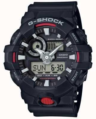 Casio Mens g-choque de alarma cronógrafo negro GA-700-1AER