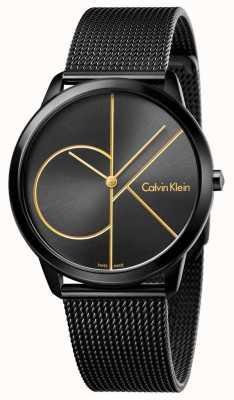 Calvin Klein Malla mínima de acero inoxidable negro para hombre K3M214X1
