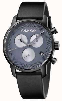 Calvin Klein ciudad de cuero para hombre negro gris crono K2G177C3
