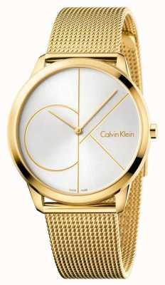 Calvin Klein Reloj minimalista para hombre | correa de acero inoxidable de malla dorada | K3M21526
