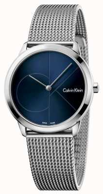 Calvin Klein Malla de acero inoxidable minimalista de mujer azul dial K3M2212N