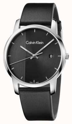 Calvin Klein ciudad para hombre esfera de color negro de cuero negro K2G2G1C1
