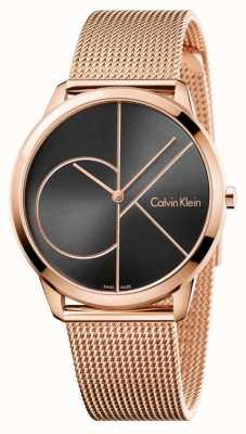Calvin Klein Mens negro minimalista malla de oro dial negro K3M21621