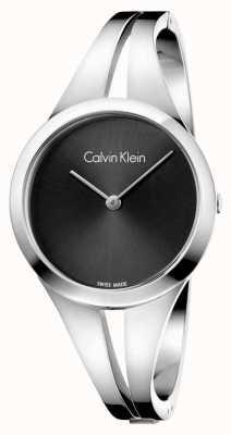 Calvin Klein Cuero negro de plata de acero de la mujer de la mujer K7W2S111