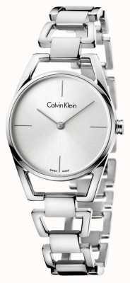 Calvin Klein Womans delicada esfera de plata de acero inoxidable K7L23146
