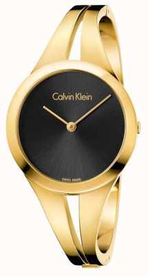 Calvin Klein Mujer adicto oro toned brazalete negro dial K7W2S511