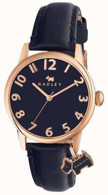 Radley Womans liverpool correa de cuero azul marino calle RY2456