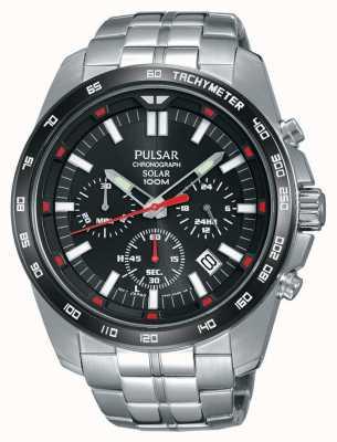 Pulsar Reloj de acero inoxidable para hombre negro crono PZ5005X1