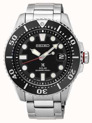 Seiko El | prospex | solar | buzo | pulsera de metal | esfera negra | SNE437P1