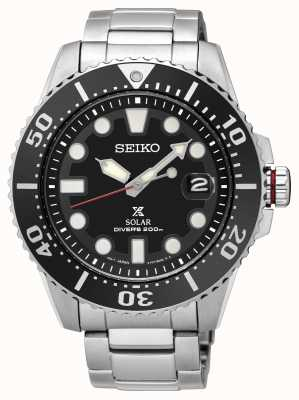 Seiko | prospex | solar | buzo | pulsera de metal | esfera negra | SNE437P1