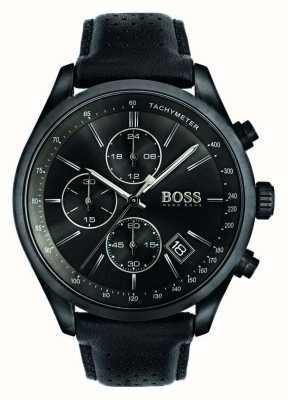 Hugo Boss Mens esfera de color negro correa de cuero negro Gran Premio de cronógrafo 1513474