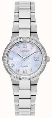 Citizen Reloj de caja de cristal eco-drive para mujer EW1990-58D