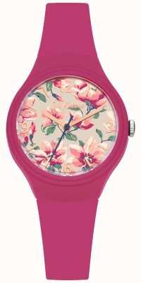 Cath Kidston Correa de silicona rosa para mujer con estampado floral CKL029P