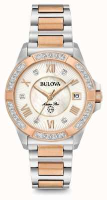 Bulova Womans diamante estrella marina reloj de dos tonos 98R234