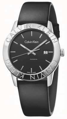 Calvin Klein Womans constante esfera de color negro de cuero negro K7Q211C1