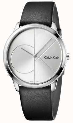 Calvin Klein Reloj de cuero negro minimalista para hombre K3M211CY