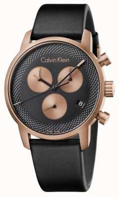 Calvin Klein Para hombre de la ciudad de cronógrafo esfera azul de cuero negro K2G17TC1