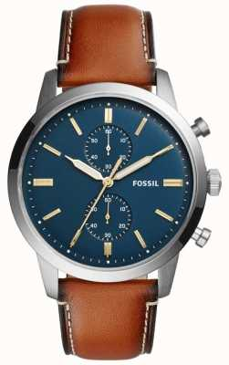Fossil Cronógrafo hombre ciudad cuero marrón FS5279