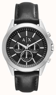 Armani Exchange Cronógrafo negro de cuero para hombre AX2604