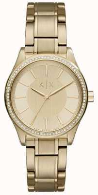 Armani Exchange Reloj de oro de acero de oro de la mujer AX5441