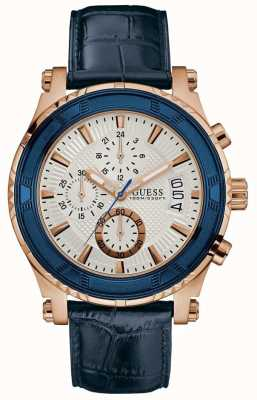 Guess Mens pinnacle chrograph azul correa de cuero plata dial W0673G6