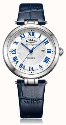 Rotary Para mujer esfera blanca correa de cuero azul de alfalfa LS90197/01L