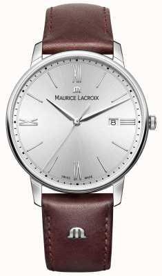 Maurice Lacroix Mens Eliros esfera de plata correa de cuero marrón EL1118-SS001-110-1