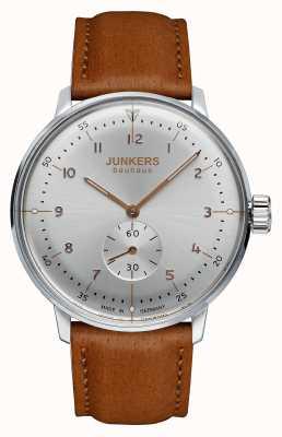 Junkers Para hombre Bauhaus Handwound esfera de plata correa de cuero marrón 6030-5