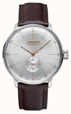 Junkers Para hombre Bauhaus reloj de plata de la correa de cuero handwound 6032-5