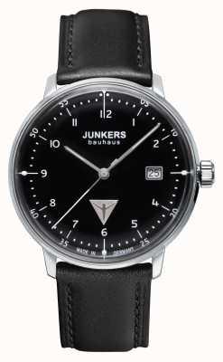 Junkers Mens esfera de color negro correa de cuero negro Bauhaus 6046-2