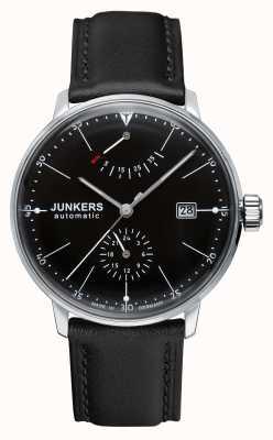 Junkers Para hombre de marcación automática Bauhaus correa de cuero negro negro 6060-2