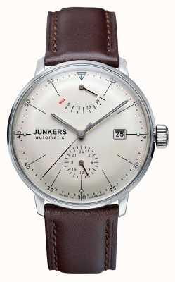 Junkers Para hombre de marcación automática Bauhaus correa de cuero marrón amarillento 6060-5