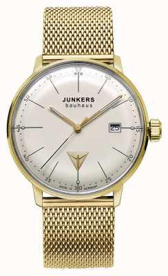Junkers Para hombre Bauhaus tono de oro malla de acero inoxidable esfera de color beige 6072M-5