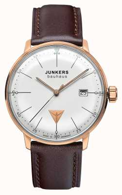 Junkers Mens bauhaus marrón correa de cuero esfera plata 6074-1