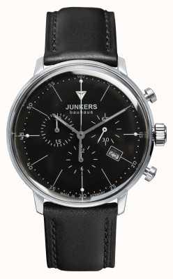 Junkers Para hombre Bauhaus cronógrafo esfera de color negro correa de cuero negro 6088-2