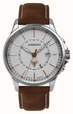 Junkers Mens tante ju cuero marrón reloj de plata de la correa 6842-4
