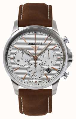 Junkers Mens tante ju Cronógrafo de cuero marrón reloj de plata de la correa 6878-4