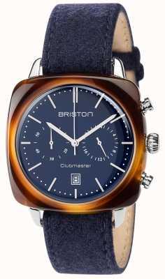 Briston Mens clubmaster vendimia esfera azul correa de tela azul 17140.SA.TV.15.LFNB