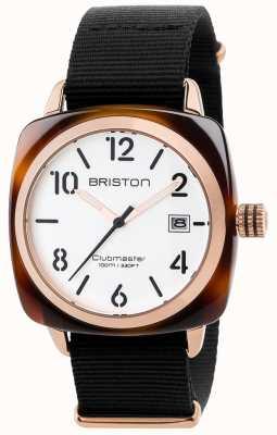 Briston Mens clubmaster correa de tela negro clásico esfera blanca 17240.PRA.T.2.NB