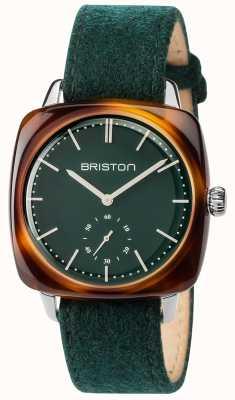 Briston Mens clubmaster cosecha verde tela correa esfera verde 17440.SA.TV.16.LFBG