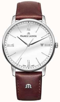 Maurice Lacroix Reloj de cuero marrón para hombre Eliros EL1118-SS001-113-1