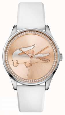 Lacoste Womans correa de silicona blanca rosa oro piedra conjunto dial 2000969