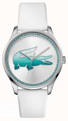Lacoste Reloj de cristal azul de goma blanca de Womans 2000971